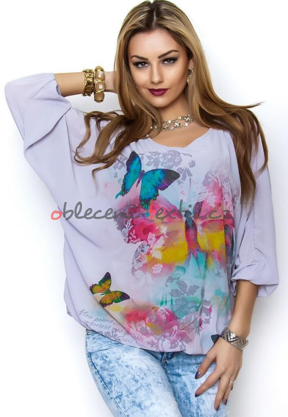 Dámská halenka s motýly Missy y-ha017gr - oblečení textil 0c2e05ace8