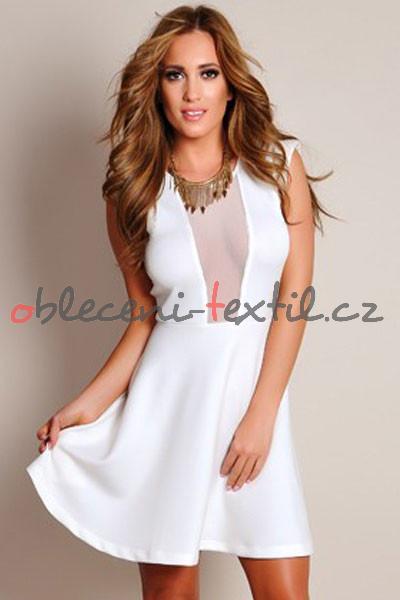 120491f11398 Dámské bílé šaty Damson d-sat025wh - oblečení textil