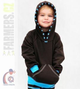 Dětská klokanka s kapucí CHOCO Farmers tyrkys