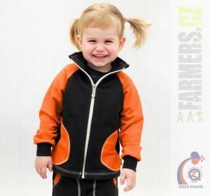 Dětská mikina na zip CHOCO Farmers oranž