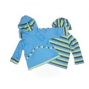 Dětská oboustranná mikina EARTH Farmers s kapucí modrá trio