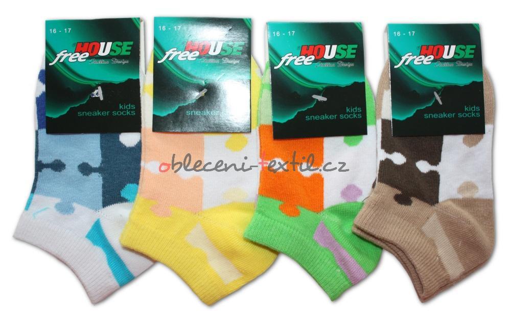 Dětské kotníkové ponožky Novia - Puzzle - 3 páry v balení - oblečení ... a885f5c3eb