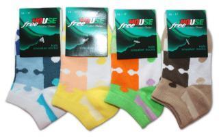 Dětské kotníkové ponožky Novia - Puzzle - 3 páry za 1 cenu
