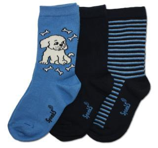 Dětské modré ponožky SPONKS - 3 páry v balení