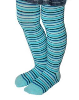 Dětské punčocháče Design Socks - tyrkys - úzký proužek