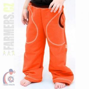 Dětské tepláky s kulatými kapsami Farmers - CHOCO oranž