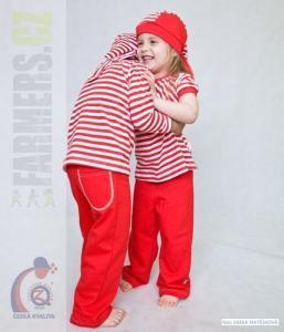 Dětské tepláky se zadní kapsou Farmers NAVY červené