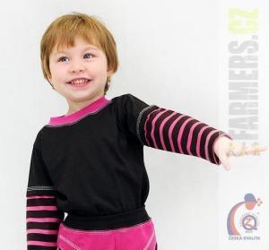 Dětské tričko dl. rukáv prostřihlé CHOCO Farmers hnědé/cyklam