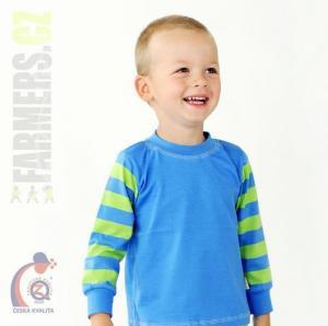 Dětské tričko dl. rukáv s manžetou EARTH Farmers modré/pruhy