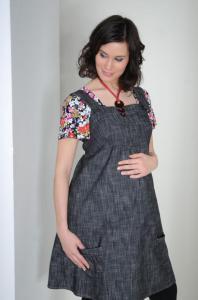 Těhotenská riflová šatovka SOPHIA Č